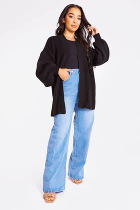 BLACK Mock pocket cardigan