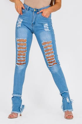 DENIM BLUE High Wasited Flare Ripped Jeans