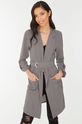 MID GREY CREPE LONGLINE D RING BELTED DUSTER