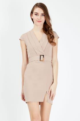 MINK BELTED SMART SHIFT DRESS