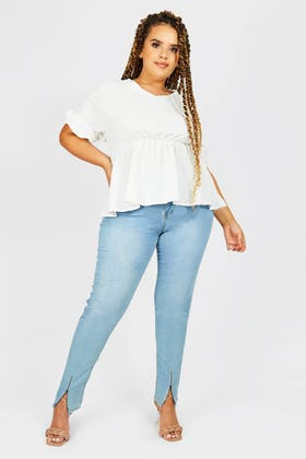 LIGHT BLUE PLUS SKINNY JEANS WITH ZIP DETAILING