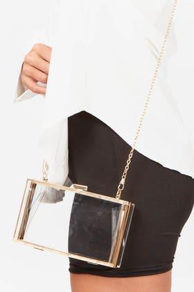 GOLD CLEAR PERSPEX BOX CLUTCH BAG