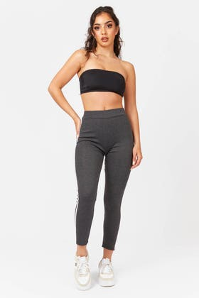 CHARCOAL High waisted stretch leggings with side stripe