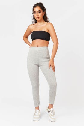 LIGHT GREY High waisted stretch leggings with side stripe