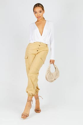 STONE BUTTON UP CARGO TROUSERS