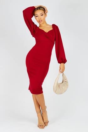 WINE Wrap detail bardot midi dress