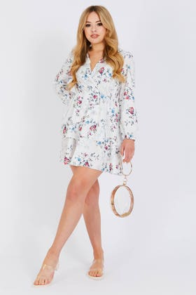 WHITE Floral print frill tiered plunge mini dress