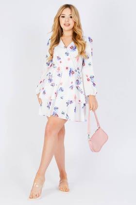 MULTI Floral print frill tiered plunge mini dress