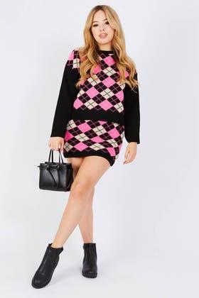 BLACK Argyle knitted skirt co-ord