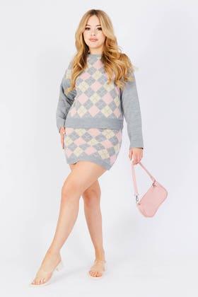 GREY Argyle knitted skirt co-ord