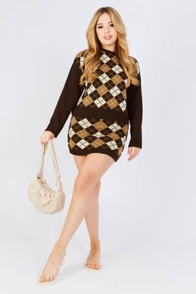 BROWN Argyle knitted skirt co-ord