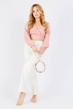 PINK WRAP OVER LONG SLEEVE PLUNGE TOP