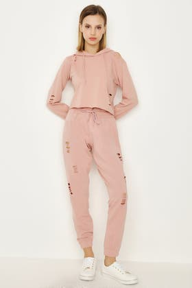 MISTY ROSE RIPPED JOGGER