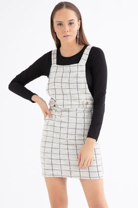 MONO 2 IN 1 LS BOUCLE PINAFORE DRESS