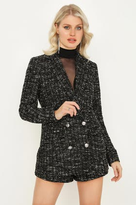 MONO BOUCLE DOUBLE BREASTED TAILORED JACKET