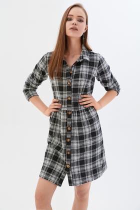 MONO BRUSHED CHECK SMOCK SHIRT DRESS