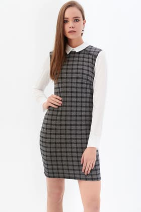 MONO COLLAR 2 IN 1 BRUSHED CHECK SHIFT