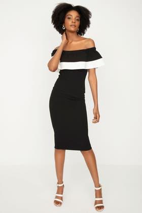 MONO COLOUR BLOCK SCUBA DRESS