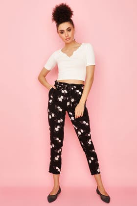 MONO MONO FLORAL PAPERBAG BELTED SOFT TROUSER