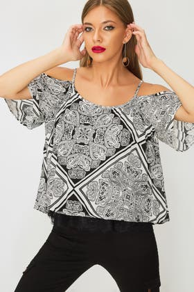MONO PATCHWORK PAISLEY CRINKLE BLOUSE