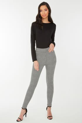 MONO PRINCE OF WALES CHECK SIDE ZIP JEGGING