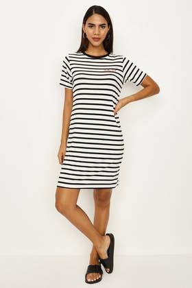 MONO STRIPE EMB T-SHIRT DRESS