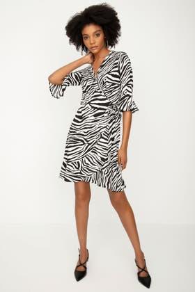 MONO ZEBRA PRINT SHIRT DRESS
