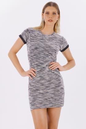 MONO ZIP DETAIL LUREX SWEAT DRESS