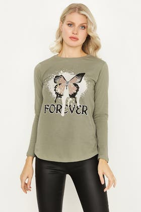 MOSS FOREVER BUTTERFLY LONG SLEEVE TOP