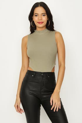 MOSS RIBBED HIGH NECK BODY
