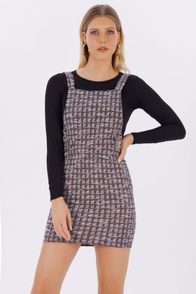 MULTI 2 IN 1 LS BOUCLE PINAFORE DRESS