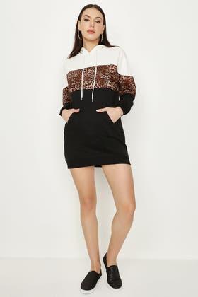 MULTI ANIMAL BLOCK SWEAT DRESS