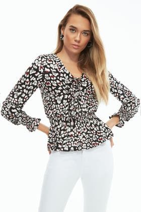 MULTI ANIMAL LACE UP WOVEN BLOUSE