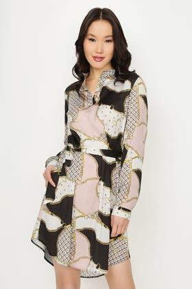 MULTI BAROQUE PRINT SATIN SHIRT DRESS