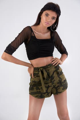 MULTI BELTED CAMO SHORT