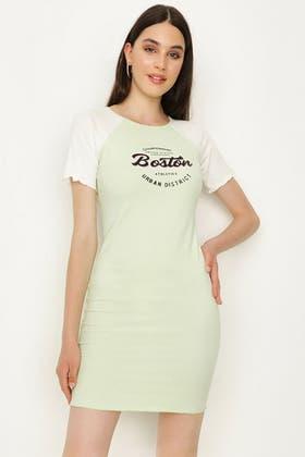 MULTI BOSTON SLOGAN RIB BODYCON DRESS