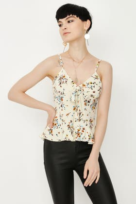 MULTI BOW FRONT FLORAL RUFFLE VEST