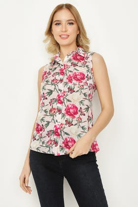 MULTI BUTTERFLY FLORAL SLESS SATIN SHIRT