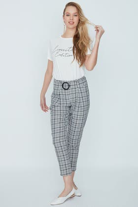 MULTI CHECK BUCKLE PAPERBAG TROUSER