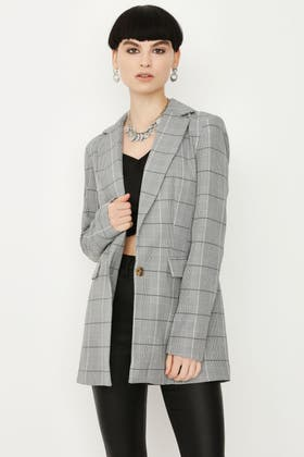 MULTI CHECK 1 BUTTON TAILORED JACKET