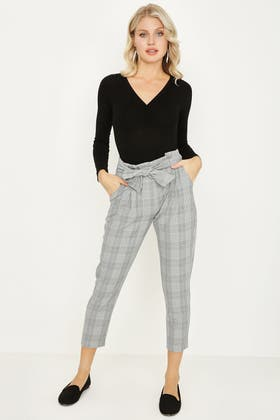 MULTI CHECK PAPERBAG TIE WAIST TROUSERS