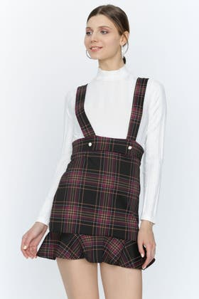 MULTI CHECK PEARL BUTTON PINNY SKIRT