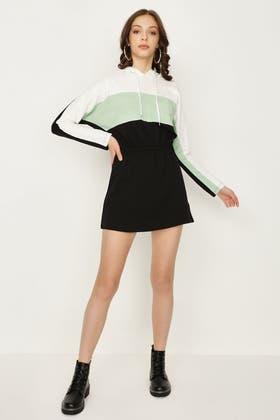 MULTI COLOUR BLOCK DRAWSTRING SWEAT DRESS