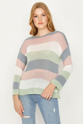 MULTI COLOUR BLOCK KNITTED JUMPER