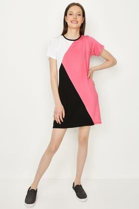 MULTI COLOUR BLOCK T-SHIRT DRESS