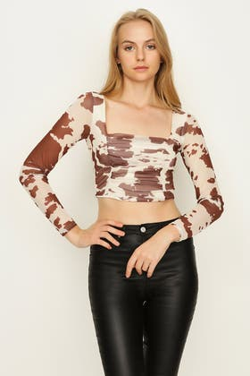 MULTI COW PRINT RUCHED FRONT MESH TOP
