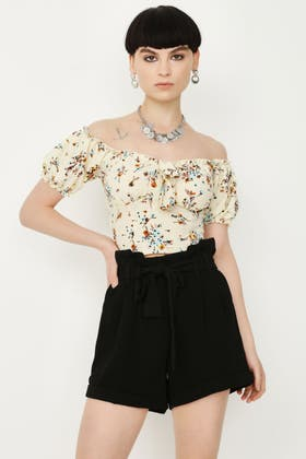 MULTI DITSY BRODERIE TIE FRONT CROP