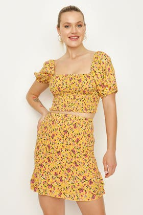 MULTI DITSY FLORAL CO-ORD SHIRRED TOP