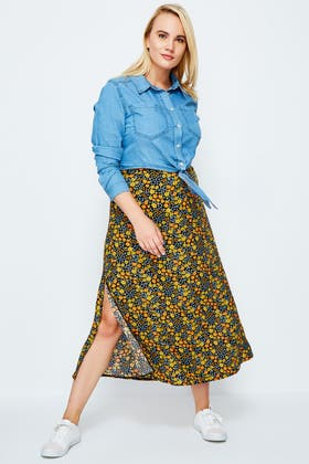 MULTI DITSY FLORAL MIDAXI SKIRT