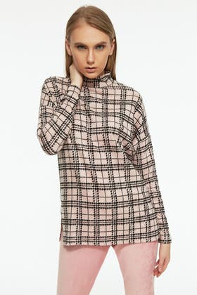 MULTI FLOCKED CHECK HIGH NECK TOP